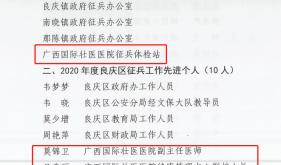 """广西国际壮医医院征兵体检站荣获2020年度良庆区""""征兵工作先进单位"""""""